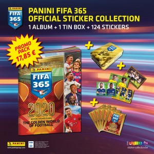 PACK DE LANCEMENT-1 ALB+124 STICKERS+TIN BOX- FIFA 365 2020